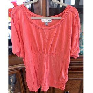 Coral Maternity Shirt